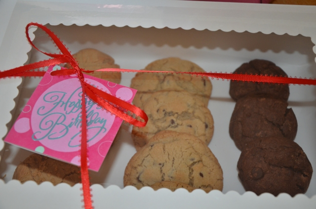 Happy Birthday wishes to a new, fabulous client! Order your 1 dozen cookie combo. 15.00 Delivery available!