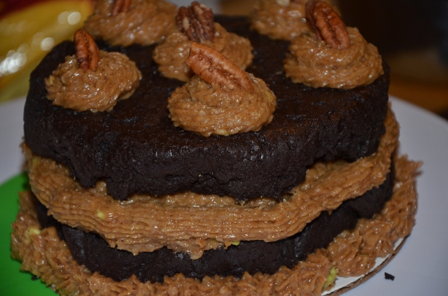 "THM, Paleo, Sugar-Free Gluten Free, Brownie ""Peanut Butter"" Cake  . 6 inch, two layer cake 8-12 servings. 25.00. Flourless chocolate cake made with stevia or truvia (you choice) cocoa powder and coconut oil. With almond butter frosting. Made with unsweetened coconut, coconut milk, almond butter, stevia or truvia, bananas and avocados. Topped with pecans!"