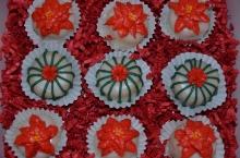 Gluten-free Petit Fours Vanilla pound cake with raspberry filling.