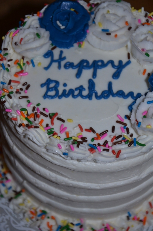 Gluten-free confetti cake with soft and fluffy gluten-free cream cheese frosting.