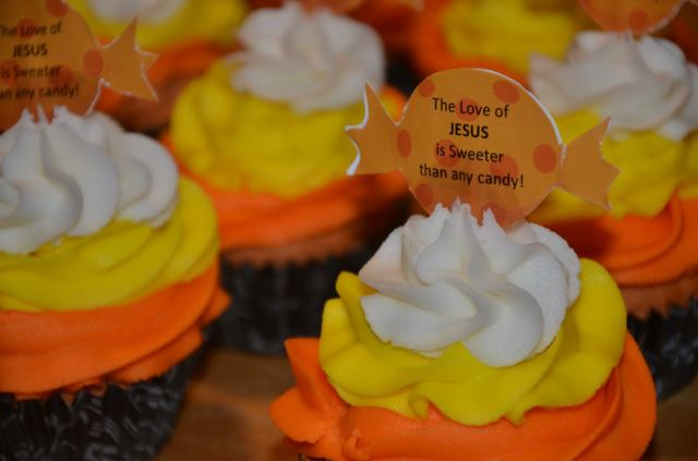Gluten free brownie bottom candy corn cupcakes
